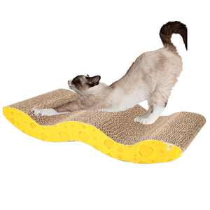 Zimtown Cat Scratcher with Catnip, Wave Scratching Pad Recyclable Lounge Cardboard Pad