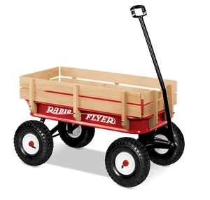 "Radio Flyer, 36"" All-Terrain Steel & Wood Wagon, Air Tires, Red"