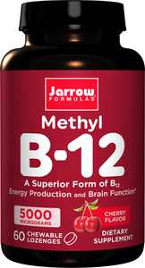 Jarrow Formulas Methyl B12 (Methylcobalamin) Cherry, Supports Brain Cells, 5000 mcg, 60 Lozenges