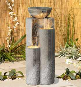 """John Timberland Outdoor Floor Water Fountain 34 1/2"""" High Cascading Marble Finish Bowls LED for Garden Yard"""