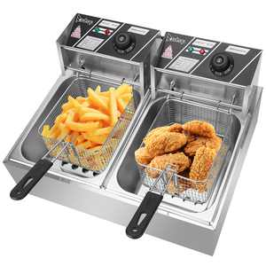 ZOKOP 12L 5000W Electric Countertop  Deep Fryer With Basket Stainless Steel Double Tank Electric Fryer For Home and Commercial Use