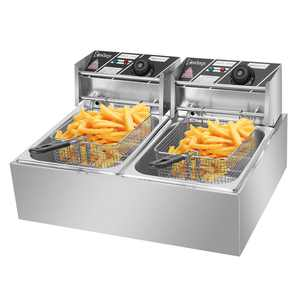 Ktaxon Commercial Electric Deep Fryer,Timer and Drain Stainless Steel French Fry&Dual Tanks Commercial