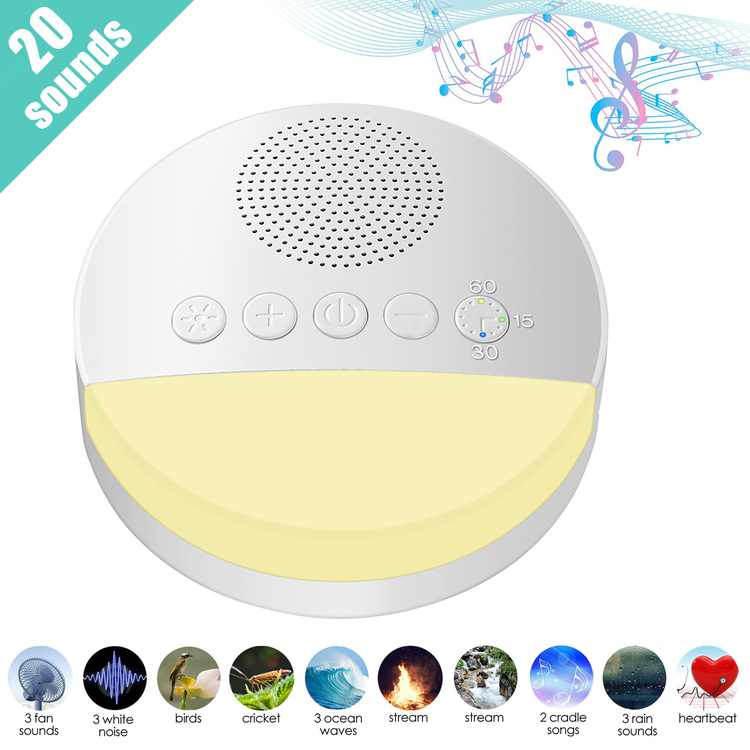 White Noise Machine for Sleeping - High Fidelity Sound Machine Baby with Night Light, 20 Non-Looping Soothing Sounds, Timer, USB Cable & Memory Function for Office Privacy, Home, Travel, Adults, Kids,