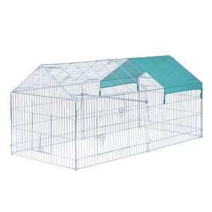 PawHut 87 x 41 Outdoor Metal Pet Enclosure Small Animal Playpen Run for Rabbits, Chickens, Cats, Small Animals, Silver & Green