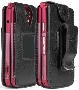 Case for Jitterbug Flip Phone, Nakedcellphone [Black Vegan Leather] Form-Fit Cover with [Built-In Screen Protection] and [Metal Belt Clip] for GreatCall Jitterbug Flip Phone 4G for Seniors (4043SJ6)