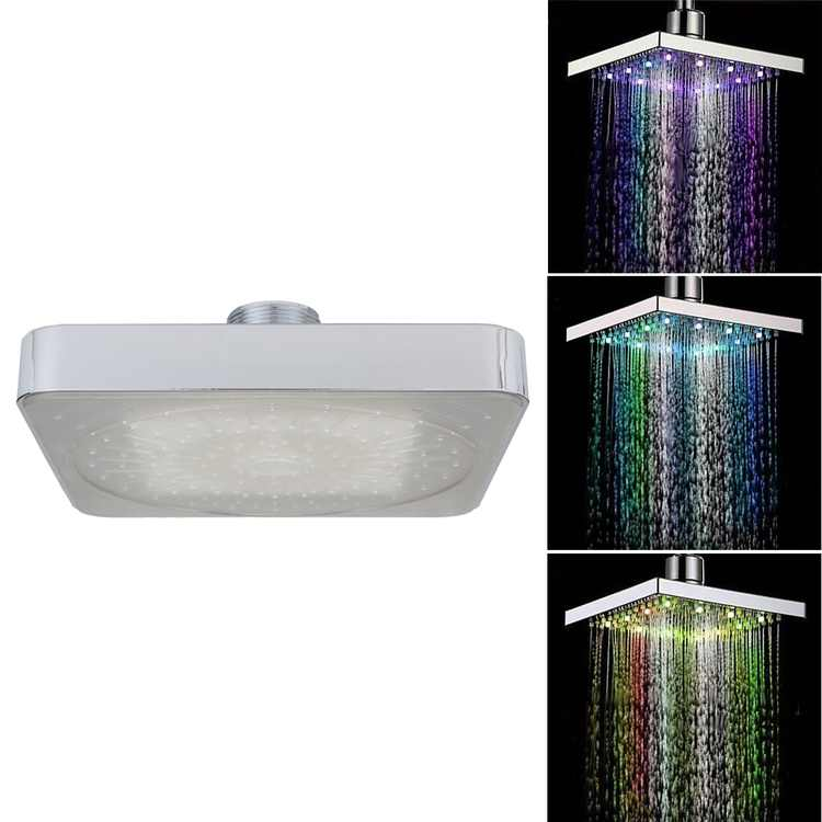 """6"""" Square Rain Shower Head,6 inch LED Chrome Face Shower Head Stainless Steel 7 color Changing Hottestlaus LED Light"""