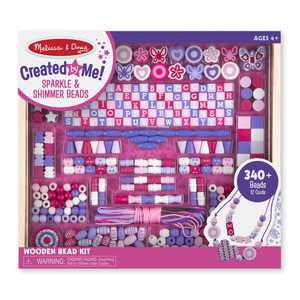 Melissa & Doug Created by Me! Sparkle & Shimmer Beads Wooden Bead Kit, 340+ Beads for Jewelry-Making
