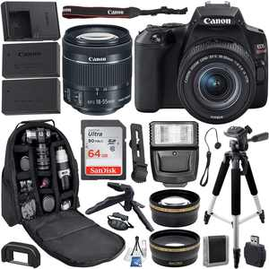 Canon EOS Rebel SL3 DSLR Camera with 18-55mm IS STM Lens (Black) with Beginner Accessory Bundle  Includes: SanDisk Ultra 64GB SDXC Memory Card, Replacement Battery, Slave Flash, 57 Tripod & MORE