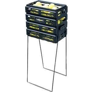 Tourna Ball Port - Tennis Ball Pickup Basket, 80 Ball Capacity, Black Color with Locking Legs and Top.