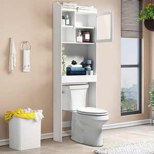 Bathroom Cabinet Over the Toilet, Bathroom Storage Space Saver, with 3-Shelves and 1-Door Cabinet, White