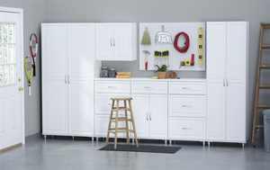 """SystemBuild 35.7""""W x 15.4""""D x 74.3""""H 2 Drawer / 2 Door Utility Storage Cabinet, White"""