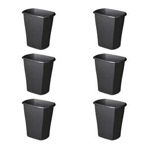 Sterilite 10539006 10 Gallon Ultra Plastic Wastebasket Trash Can, Black (6 Pack)