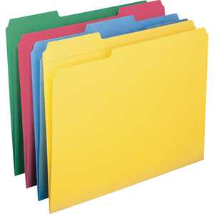 Smead File Folders with Reinforced Tab, Blue, Green, Red, Yellow, 12 / Pack (Quantity)