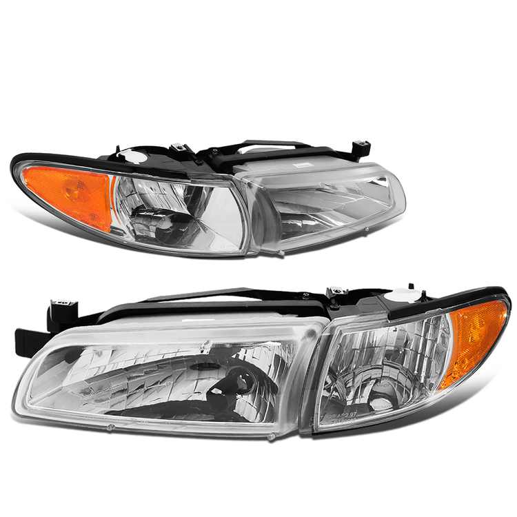 For 1997 to 2003 Pontiac Grand Prix Chrome Housing Amber Side Factory Style Left Right Headlight 98 99 00 01 02