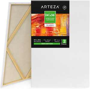 "ARTEZA Stretched Canvas, 24"" x 36"", Pack of 2"