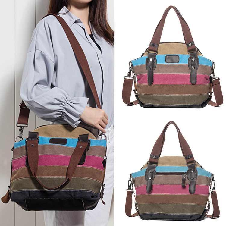 Fashion Stripe Leisure Multicolor Canvas Shoulder Bag Tote Handbags for Women Cross Body Bag 13.8 x 13 x 5.5 inches
