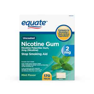 Equate Mint Flavor Uncoated Nicotine Gum, 2 mg, 170 count