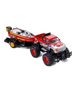 Dash Toyz Monster Truck Trailer with Speed Boat Friction Push Powered Hauler Play Set