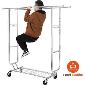 600 lbs Commercial Clothing Garment Rack with Shelves Clothing Racks on Wheels Rolling Clothes Rack Heavy Duty Portable Collapsible Adjustable, Chrome Finish