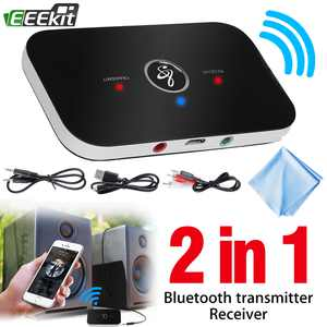 EEEkit 2 in 1 Wireless Bluetooth Transmitter & Receiver A2DP Home TV Stereo Audio Adapter Compatible with TV/PC/CD MP3 Player/Speaker/iPhone/iPod/iPad/Tablets/Car Stereo and More(with Cleaning Cloth)