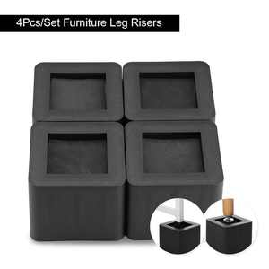 OTVIAP Furniture Riser,4Pcs/Set Furniture Leg Risers PP Plastic Non-Slip Riser for Table Desk Bed Sofa Black Color