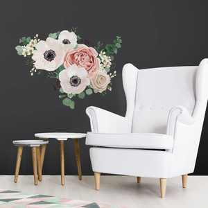 RoomMates Fresh Floral Giant Peel and Stick Giant Wall Decals - Pink - Assembled Product Height: 17.25 in