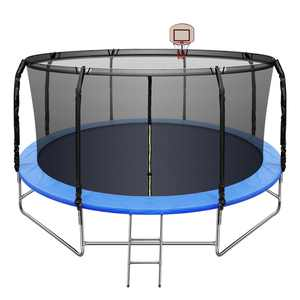 14FT Trampoline with Basketball Hoop&Safety Enclosure Net for Kids/Adults Fitness Trampoline, Waterproof Jump Mat, Ladder, Spring Cover Pad Exercise Fitness Outdoor Trampoline