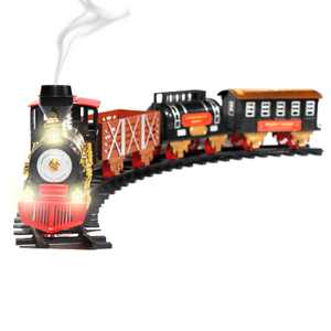 Christmas Train Toy Classic Holiday 20 Piece Track Set Lights, Sound, and Real Smoke