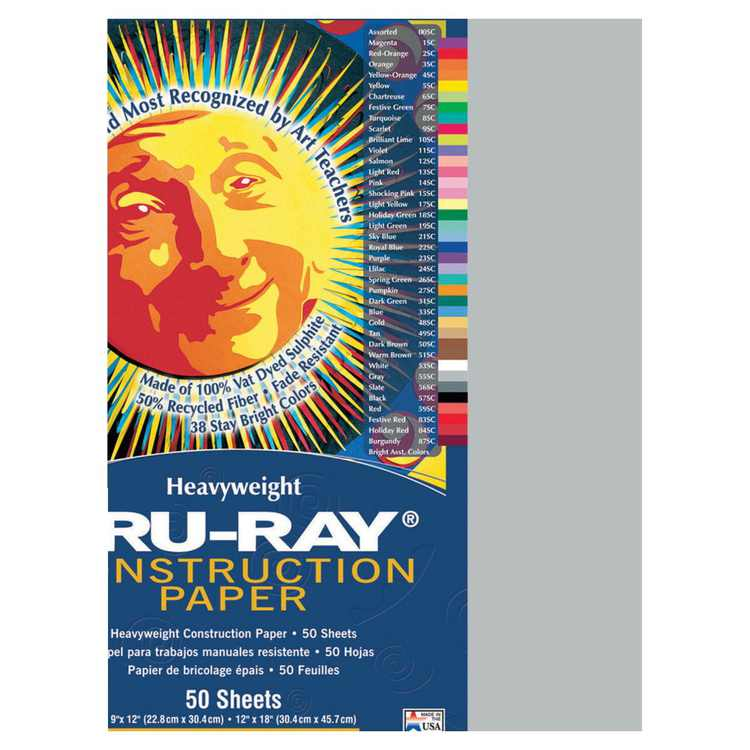 Tru-Ray 054042 Construction Paper 9 x 12 In. Gray, Pack Of 50