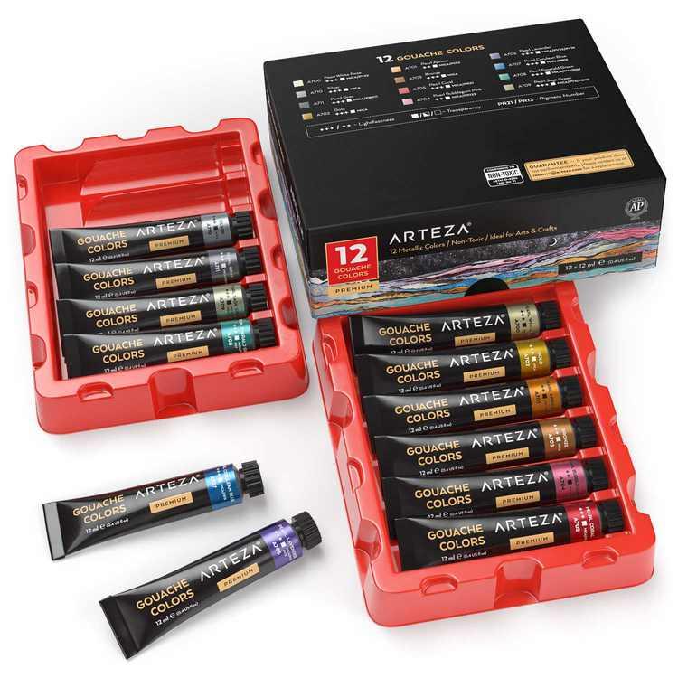 Arteza Metallic Gouache Paint, 12ml Tubes, Assorted Colors - 12 Pack (ARTZ-8563)
