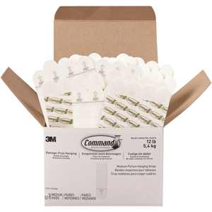 Command, MMM17201S52NA, Medium Picture Hanging Strips, 52 / Box, White