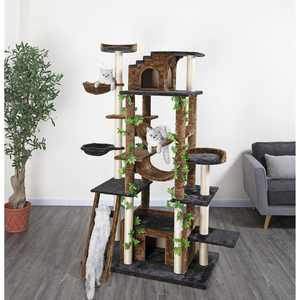 Go Pet Club 77-in Cat Tree & Condo Scratching Post Tower, Brown
