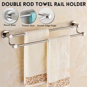 Double Rod Wall Mounted Chrome Stainless Steel Towel Bar Holder Set Bath Accessory Towel Rail Bathroom Rack Shelf