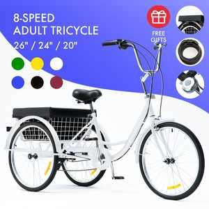 """26"""" 3-Wheel Adult Tricycle w/ Large Basket Cruiser Bike for Shopping & Outing With 8-speed Transmission White"""