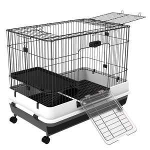 Pawhut 32L 2-Level Indoor Small Animal Rabbit Cage with Wheels - Black