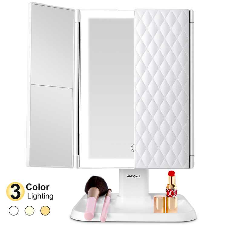 Meidong Mirror Vanity Mirror with Lights - 22 LEDs Trifold Mirror 180 Rotation Touch Control, 1x/2x/3x Magnification with Portable High Definition Cosmetic Lighted Up