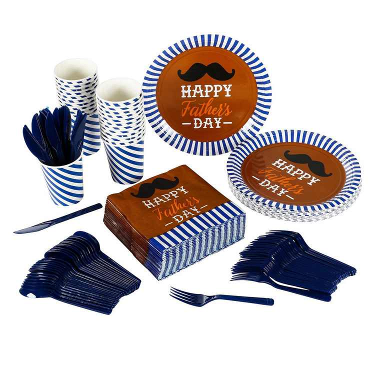 Serves 24 Happy Father's Day Party Supplies, 144PCS Plates Napkins Cups Knives Spoons Forks, Favors Decorations Disposable Paper Tableware Dinnerware Kit Set Bulk for Father's Day Party