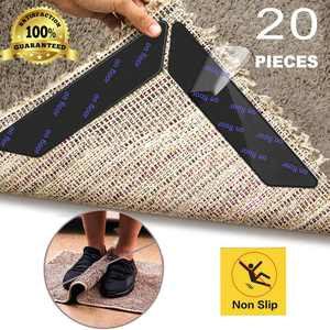 20 Pcs Anti Curling Carpet Tape Rug Grippers, Non Slip Rug Runner Gripper Pad for Area Rugs Double Sided Washable Reusable Pads for Tile Hardwood Floors, Carpets, Floor Mats, Wall, Black