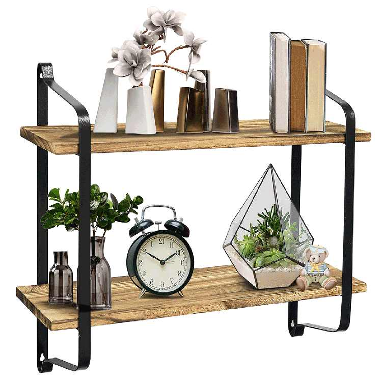 Floating Shelf Wall Mounted 2 Tier Shelf Rustic Wood with Metal Brackets Wall Storage Shelves for Bedroom, Living Room, Bathroom, Kitchen, Office and More Home Decor