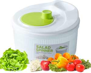 Salad Spinners Large 5 Quarts Fruits Vegetables Dryer Quick Dry Design BPA Free Dry off, Lettuce Washer with Handle Easy to Spin and Clean Quick Dry for Vegetable