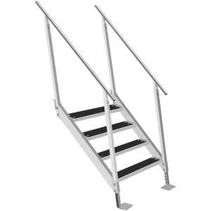 VEVOR Aluminum Dock Ladder, 4 Steps Boat Dock Ladder, 500lbs Capacity Universal Aluminum Dock Stairs w/Adjustable Height and Rubber Mat, 22inch Wide Step for Dock, Pontoon, Swimming Pool