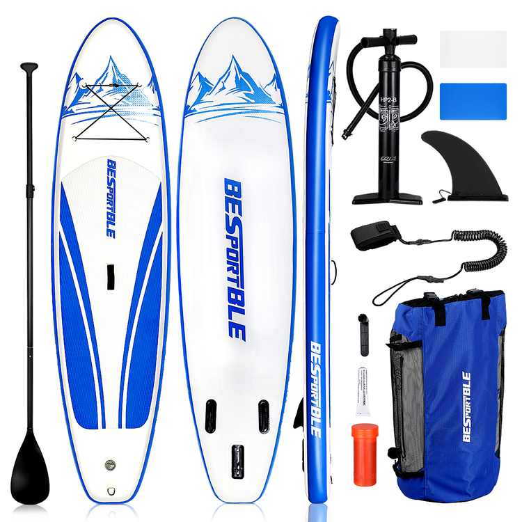 """BESPORTBLE Paddle Board Premium Inflatable Paddle Board 120''x30''x6""""Non-Slip Deck with Adjustable Paddle Backpack Pump Leash Fin for Youth Adults Stand up Paddleboard"""