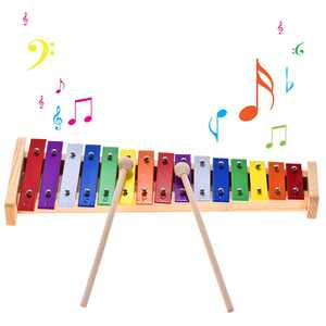 Colorful Glockenspiel Xylophone Wooden & Aluminum Percussion Musical Instrument Educational Toy 15 Tones with 2 Mallets