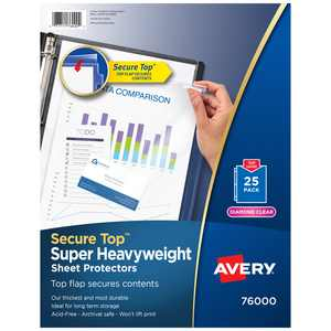 Avery Secure Top Sheet Protectors, Diamond Clear, 25 Sheets (76000)