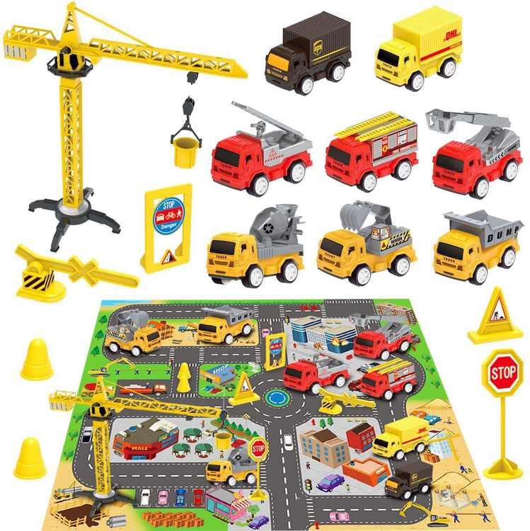 Kids Construction Site Vehicles Toy Set, Engineering Cars Playset with Car City Map, Mini Pull Back Cars, Dump Truck, Excavator, Cement, Fire Engines, Transport Delivery Trucks Gift for Boys Girls
