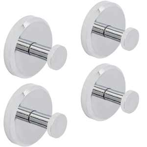 HOME SO Suction Cup Hooks for Shower, Bathroom, Glass, Tiles, Chrome 4-Pack