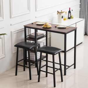 Zimtown 3-Piece Counter Height Dining Table Set Kitchen Dining Pub Bar Table with 2 Upholstered Stools & 3 Open Storage Shelves
