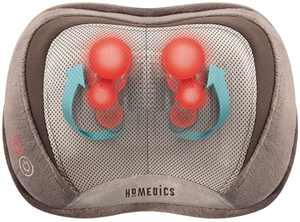 HoMedics 3D Shiatsu and Vibration Massage Pillow with Heat, Deep-Kneading Spherical Node Rollers, Ultra-Modern 3D Technology for Neck, Shoulders or Back
