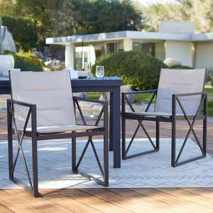 Coral Coast Carano Padded Sling Outdoor Arm Dining Chair - Set of 2