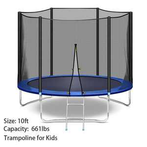 Used Like New - 10FT Trampoline with Safety Enclosure Net, Trampoline Jumping Mat, 661 LB Weight Limit for Kids and Adults, Indoor Outdoor Exercise Fitness Backyard Trampolines